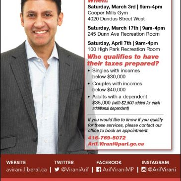 MAR 17 & APR 7: MP Arif Virani's Tax Clinics