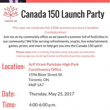 MAY 25 @ 4pm: Canada 150 Launch Party with MP Arif Virani